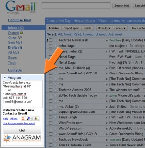 Anagram for Gmail Gadget